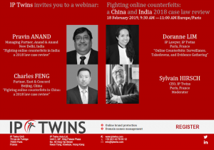 "Webinar ""Fighting online counterfeits: a China and India 2018 case law review"""