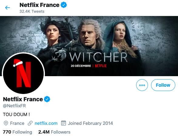 Netflix France, compte officiel